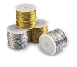 Lurex Kordel, 1,2 mm, Farbe strahlendes gold oder silber, 30 m / Knäuel