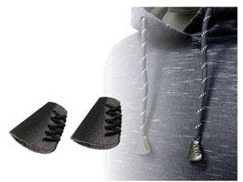 1 Paar Kordel Endstück mit Schnürung für historische Kostüme, braun oder schwarz, Eco Leder
