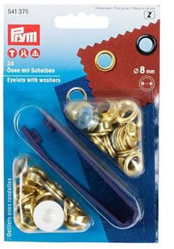 Prym 541375, Ösen mit Scheiben, Metall, gold, 8 mm, 24 Stück