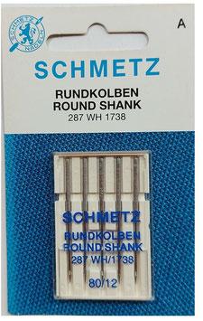 Nähmaschinen Nadel, Schmetz, 287WH/1738, Rundkolben, Stärke 80, 5-er Pack