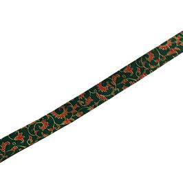 Schrägband, Baumwolle, Ornament grün-rot-gold, 20 mm, 1 Meter