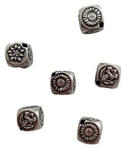 Trachten Zubehör, Kordelendstück, altsilber, mit Enzianmotiv, Quadrat 14 x 14 x 14 mm, 2 Stück