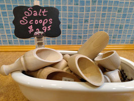 Old Fashioned Wooden Salt Scoops
