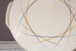 Herbolzheim pastell Tortenplatte Vintage   Cake Plate pastel German 50s 60s Stoneware