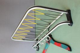 NOS Kleine Hutablage Mid Century silber schwarz gelb / coat rack Vintage 50s 60s