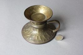 Niedriger Vintage Bronzeleuchter Brutalist / low candleholder bronze