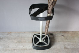 Schwarzer, eckiger Schirmständer square Midcentury umbrella stand holder 60s 70s