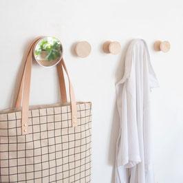 Spiegel Dot Kleiderhaken aus Holz und Spiegelglas   mirror wall hook wooden   Minimal Nordic Style