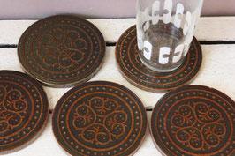 5 Glasuntersetzer aus Keramik 70er Jahre - coasters ceramic