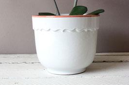 Weißer Blumentopf Keramik Vintage / West German Pottery flowerpot