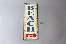 """Beach 50m"" Schild Türschild Strand / information door sign metal"