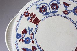 Staffel Blumen rot blau Tortenplatte Keramik Pizzateller Vintage / pizza cake plate flower
