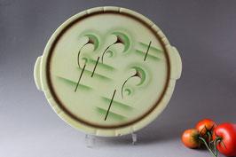 Art Déco Spritzdecor grüne Tortenplatte Antik / cake plate Vintage 20s 30s