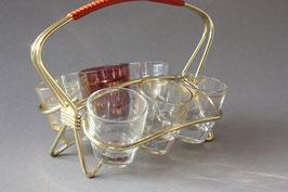 Vintage Schnapsgläser mit Halter   shot glasses with holder   Midcentury barware