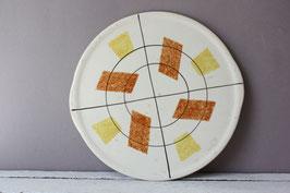 Tortenplatte grafisch Vintage Steingut | pizza cake plate graphic German stoneware