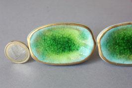 1 großer ovaler Knauf grün Craquelee