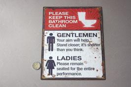 "Diese Toiletten Badezimmer bitte sauberhalten Schild / ""Please keep this bathroom clean"" door sign"