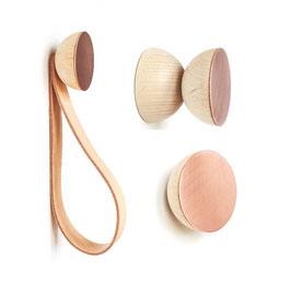 Dot Kleiderhaken kupferfarbig aus Holz und Aluminium | wall hook copper | Minimal Nordic Style