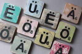 "1 ""Ä Ö Ü Ë"" Umlaut Buchstabe 6cm Scrabble Alphabet / letters alphabet"