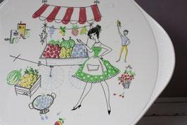 Tortenplatte Marktstand 50s 60s Vintage / cake plate pizza Mid Century