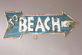 """Beach"" Schild Türschild Pfeil Strand / information door sign metal"