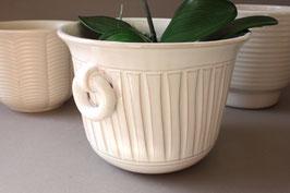 Weißer Blumentopf Streifen Keramik Vintage / white ceramic flowerpot