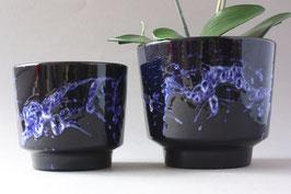 "2er Set ""Marei"" Übertöpfe aus Keramik blau Vintage 60er 70er / West German Pottery flowerpot"