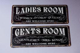 1 Ladies Gents room are welcome here / door sign rustic