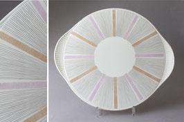 Grünstadt Keramik Streifen flieder Tortenplatte / cake plate stripes Vintage Germany