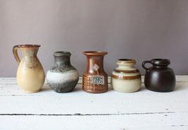 5 kleine Vasen West German Pottery / WGP Carstens Tönnishof und andere 60s 70s