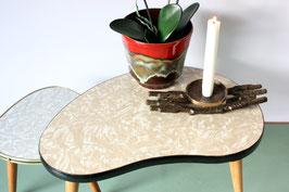 Nierentisch / Blumenhocker beige weiß marmoriert / plant stand vintage