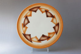 Art Déco Spritzdecor braun orange Tortenplatte Antik / cake plate Vintage 30s 40s