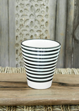 Single Coffee Cup - Black and White 'Striped'