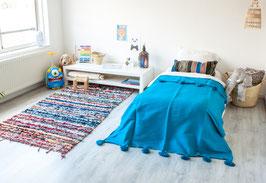 Kids Pompom Blanket - Ocean Blue