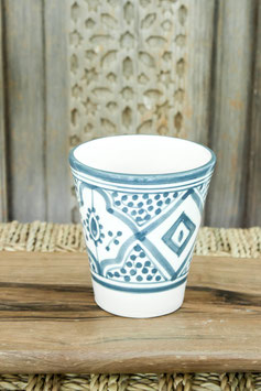 Single Coffee Cup - Grey/Blue Pattern