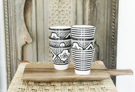 Coffee Cups - Set of two - Black and White 'Striped'