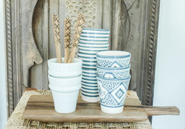Coffee Cups - Set of two - Grey/Blue 'Striped'