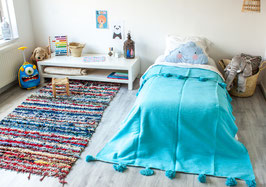 (Temporarily) Out of Stock - Kids Pompom Blanket - Soft Blue