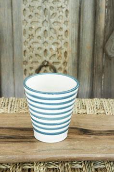 Single Coffee Cup - Grey/Blue 'Striped'