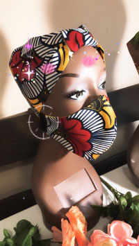 ankara bonnet and mask set