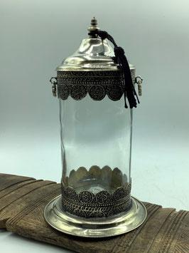 mundgeblasenes Glase mit Metallverzierungen / Metallbeschlägen - Handarbeit aus Marokko (Bestell-ID 34031)