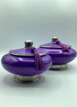 Tadelaktdosen violett in Größe M, L  mit Silberrand Details (Bestell-ID 32209)