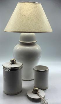Tischleuchte / Lampe aus Tadelakt weiß  (Bestell-ID 32225)
