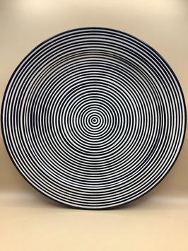 Keramik Couscous-Teller / Servierteller Obst in modernem schwarz-weiß Design (Bestell-ID 31101)