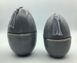 Tadelaktdosen grau in Eiform Größe S,M (Bestell-ID 32222)
