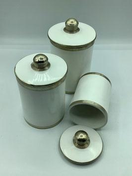 Tadelaktdose weiß L mit Silberrand Details (Bestell-ID 32205)
