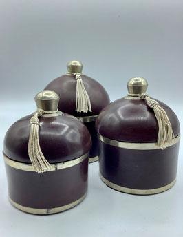 Tadelaktdosen braun in Größe S, M, L  mit Silberrand Details (Bestell-ID 32207)