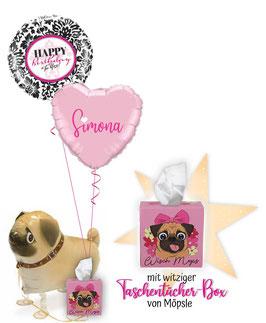 Ballongruß zum Geburtstag mit Wisch-Mops-Box