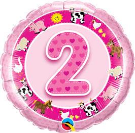 Ballon Geburtstag-Zahl: 2 Bauernhof Tiere pink