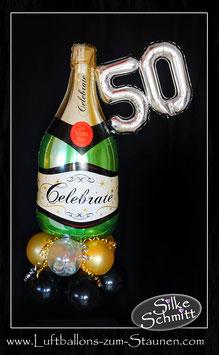 große  Luftballon-Champagner-Flasche mit Zahl